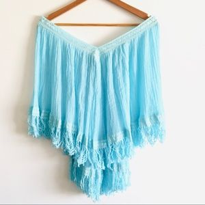 Mexican Blouse Boho Chic Turquoise Sky Blue Tunic